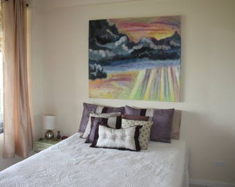After the Storm, large beautiful sunset painting, bright colors, positive energy, wall art, collage, sunset colors, colourful, healing art