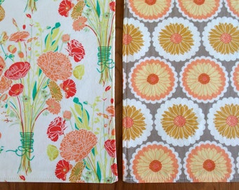 Peach and Gray Placemats with Bouquets of Flowers, Reversible Cloth Placemats, Modern, Bonnie Christine Reminisce Fabric, Spring
