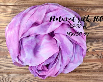 Silk Scarf for women purple- hand Painted - birthday gift for mom and wife