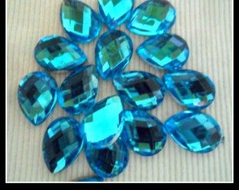 50 tear drop rhinestone deco wedding Sapphire 10 mm X 14 mm