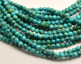 15 Inch Full Strand Of  Small  Blue Turquoise 4MM  Round Bead