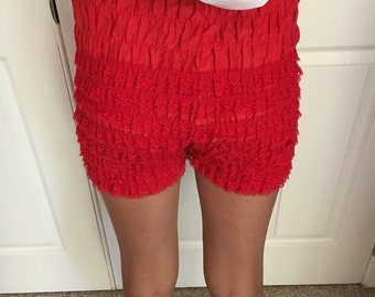 Vintage Blood Red Ruffled Rockabilly Bloomers Panties Square Dance