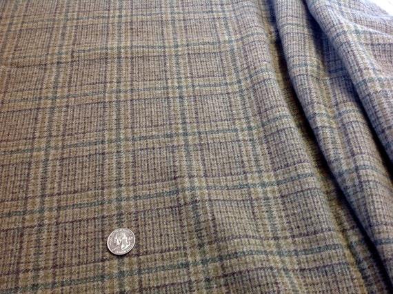 Castle Rock Plaid, Wool Fabric for Rug Hooking and Appliqué, One yard, Half Yard, Quarter Yard, W131, Mushroom, Khaki Plaid