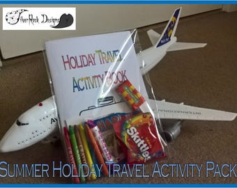Summer Travel Activity Pack - Children's Entertainments - Puzzles and Colouring Airplane Theme