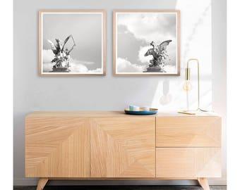 Minimalist poster set 2 White wall art Black and white art set of 2 prints, Living room wall art Large photography prints Pegasus art 10x10