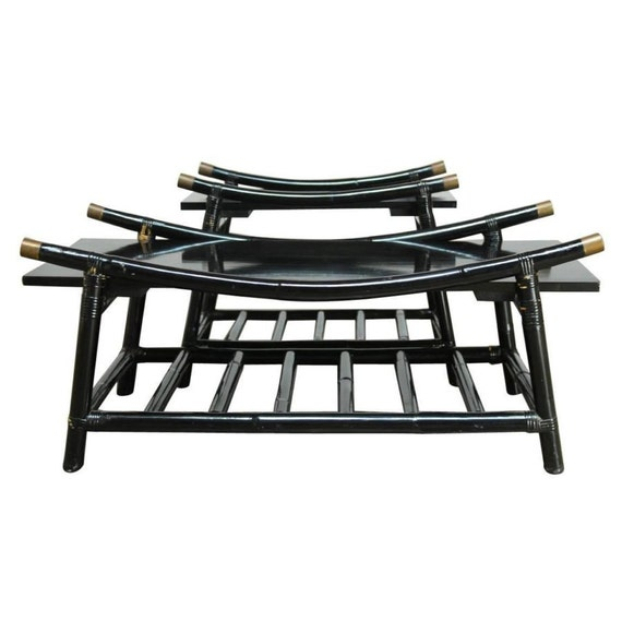 Rattan Coffee Table Etsy: Black Lacquer Rattan Coffee Table And Side Table Attributed
