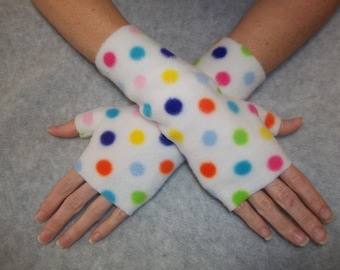 Fleece Fingerless Gloves / White with Multi Color Polka Dots / Your Choice of Size