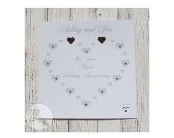Handmade Personalised Third Wedding Anniversary Card 3rd Leather Heart Marriage Gift