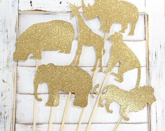 Safari Animals Centerpiece  - Set of 6 - jungle safari, zoo, party animals