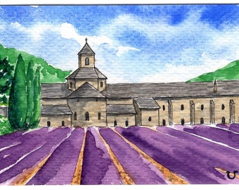 ACEO Original Watercolor Painting-Senanque Abbey with Blooming Lavender,Provence/France