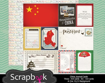 China Journal Cards. Digital Scrapbooking. Project Life. Instant Download.