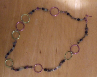 Green/Lavender Key Ring Necklace