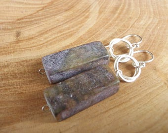 Purple Lepidolite and Sterling Silver Earrings
