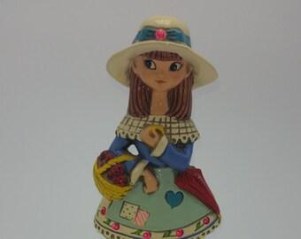Earl Bernard vintage 1960s chalkware girl coin bank