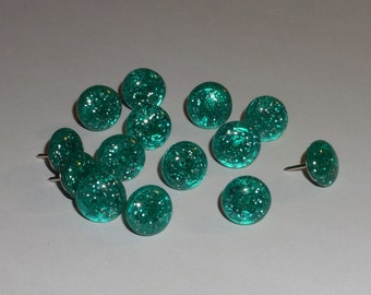 Handmade Decorative Thumb Tacks, Push Pins, Teal Sparkle Glitter Blue, Office School Home Decor, Memory Cork Bulletin Board