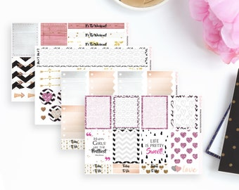 Love Is In The Air Weekly Planner Sticker Kit - Pink   71 Stickers