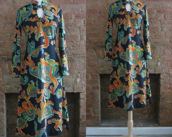 1970s black paisley print dress | 70's Retro Groovy Psychedelic