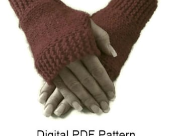 Claire's Fingerless Gloves  PDF Pattern Horizontal Knitting Hand- wrist Warmers . Is not a finished product. It is a PDF Pattern