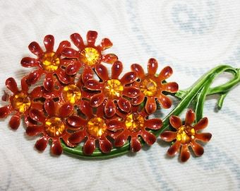 Vintage Brown and Green Enamel Orange Rhinestone Flower Brooch