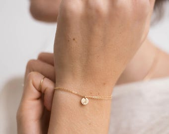 Double Wrap Dainty Initial Charm Bracelet, Delicate Chain Personalized Disk Bracelet • Tiny Disc in Gold Fill, Rose Gold, or Silver • LB220