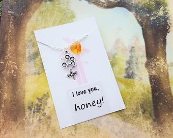 Bee Necklace, Honey Jewelry, Crystal Necklace, Nature Jewelry, Hippy Jewelry, Swarovski Elements, Honeybee Charm, Insect Jewellery, Wife