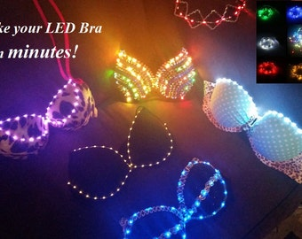 DIY LED Kit - Up to 6 feet of lights! Create your very own LED rave bra, outfit or costume in minutes! You can attach these LEDs to anything