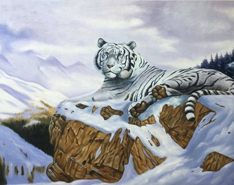 White tiger oil painting on canvas, nature scene, 24x36 inch, 100% money back guarantee