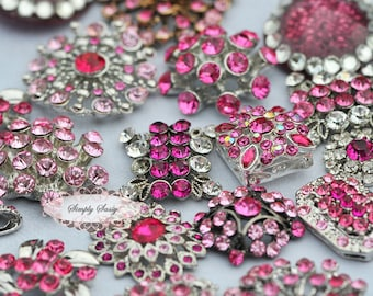 10pc PINK Assorted Rhinestone Flat back Embellishments DIY Brooches Crystal Buttons Wedding Bouquet Favors Invitations Bling