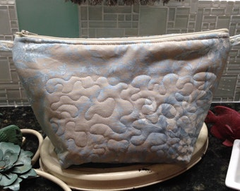 Womens make up bag laura ashley print fabric toiletry bag medium zipper bag travel bag quilted fabric bag blue silver cream bag zipper tabs