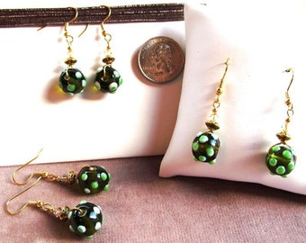 Green Bumpy Lampwork Glass Round Beaded Earrings with Swarovski Crystals