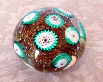 Vintage Millefiori Hand-Blown Art Glass Paperweight - Murano-Style Cane Glass Paper Weight - Fratelli Toso Style - Gold Glittery Center