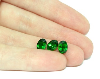 Diopside Faceted Stones, 7x5 Set of 2