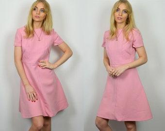 Premium Vintage 1960s Pastel Pink Mini Dress