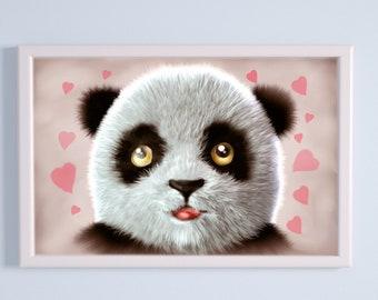 Panda Face with Hearts