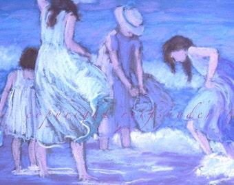 Beach greeting card, four girls, playing in surf, seashore, seaside, ocean, shore, blue, lavender, sisters, girls in dresses, prints, women