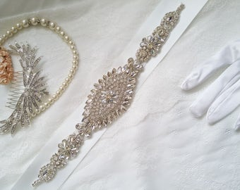 Bridal sash, bridal belt, crystal bridal sash, sash belt, rhinestone sash, crystal sash, wedding dress belt, dress sash, Gatsby belt