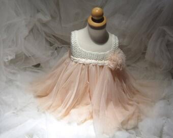 Cream Crochet &  Dusty Peach Tulle  Dress