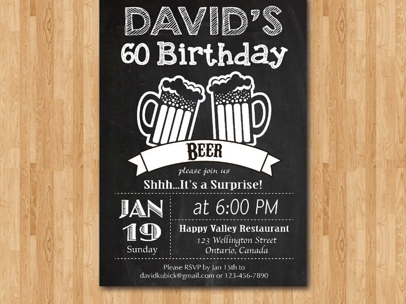 Surprise beer birthday party chalkboard. 60th birthday