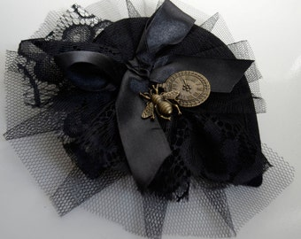 Steampunk Fascinater Headpiece Black and white Gothic