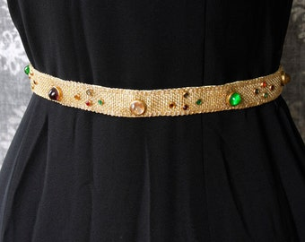 vintage 1930s/40s gold metallic weave belt <>  30s/40s gold weave belt with colorful glass stones