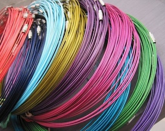 Big promotion//50pcs assorted color(19colors)1.0mm 18 inch stainless steel wire necklace cord