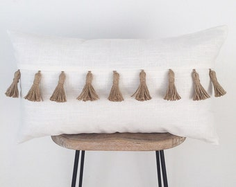 Ivory and Twine Lumbar Throw Pillow with Tassels | Pillow Cover | Farmhouse Decor