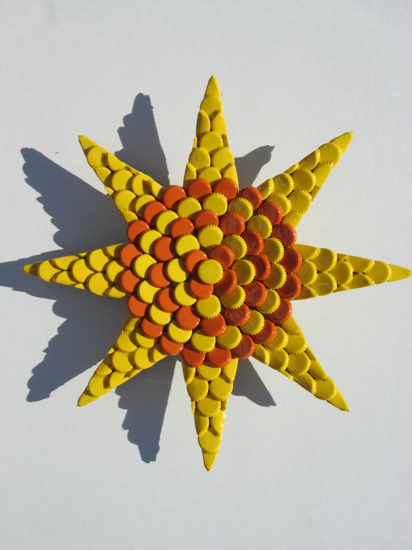 Metal Bottlecap Sun Wall Art