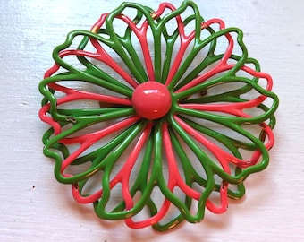 Vintage groovy mod enamel flower pin or brooch hot pink and lime green dimensional lacy pierced