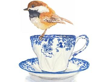 Chickadee Watercolor Painting - Teacup Watercolour, Bird Illustration, kitchen Art, Fine Art Print
