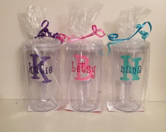 Initial and name personalized Vino2Go 10oz wine tumblers