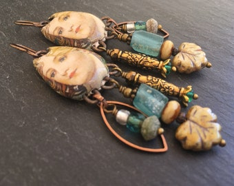 Aphrodite Earrings, Ancient Roman Glass Nuggets, Roman Goddess, Treasure Earrings, Grape Leaves, Angel Earrings, Mucha Art
