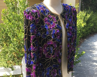 Purple Black and Gold Vintage Long Sleeve  Sequin Blazer - Small