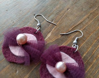 Pink felt, tulle and Pearl pierced earrings