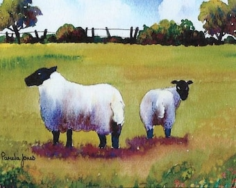 ACEO, Miniature, Watercolour Print, from my, original watercolour, 3.5ins x 2.5ins, Sheep, in, Meadow, Art and Collectables, Home and Living